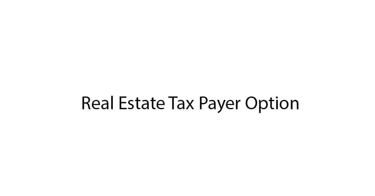 real estate tax payer option heading